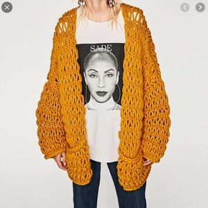 {ZARA} Chunky Knit Crochet Open Cardigan Sweater
